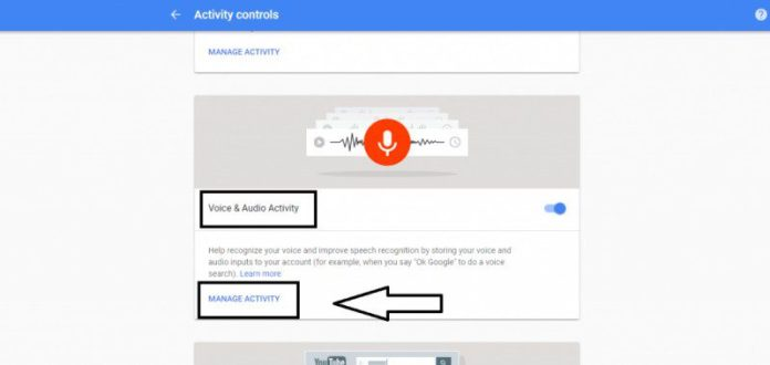 Google Activity Voice Audio Manage