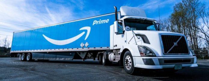 Amazon One Prime Truck Logistics Day Sky Outside Photo Vehicle Logo