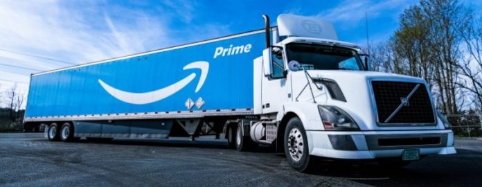 Amazon One Prime Truck Logistics Day Sky Outside Photo Vehicle Logo