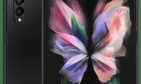 Samsung Galaxy Z Fold3 phantom black full product front 600