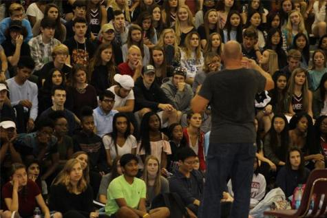 Keith Deltano stops by Lambert for anti-bullying assembly
