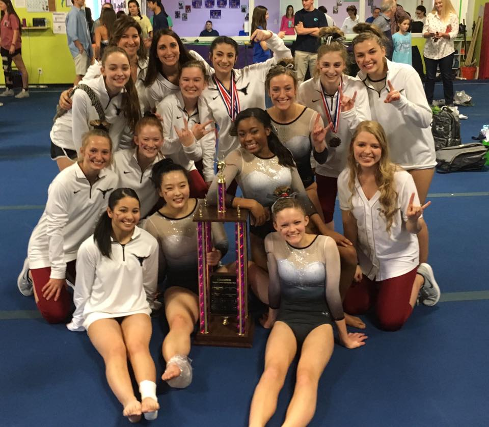 The Lambert  High School Gymnastics Team after placing first in the Forsyth Cuonty championships.