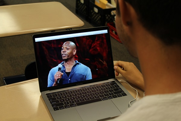 Lambert student watching the new raunchy Netflix comedy special by Dave Chapelle.