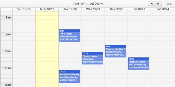 Hootsuite calendar