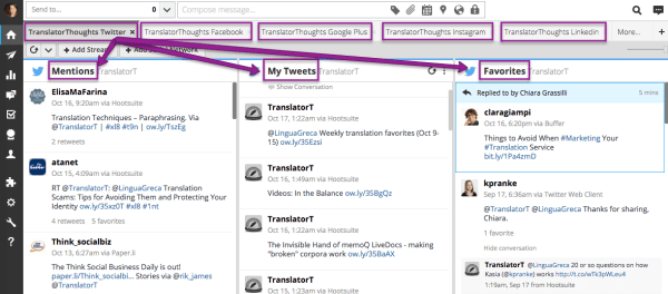 Hootsuite for translators