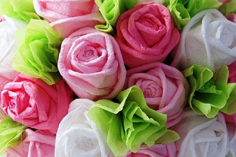 Λουλούδια από χαρτοπετσέτες το κάνουν μόνοι σας (80 φωτογραφίες)