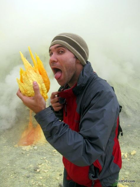 """eating"" sulfur deposits at the Kawah Ijen volcano Kawah Ijen volcano"