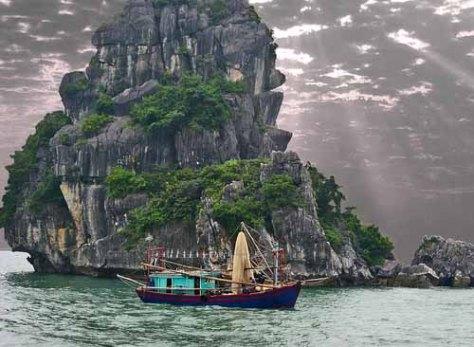 Halong Bay, Vietnam limestone pillar