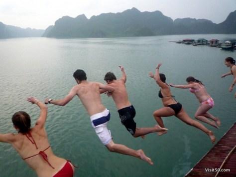 Jumping off the boat in Ha Long Bay, Vietnam
