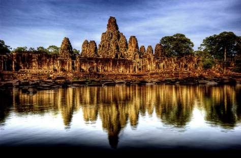 Reflections of Bayon in Angkor Thom