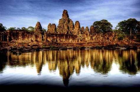 Reflections of Bayon in Angkor Thom