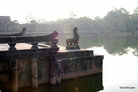 naga - the long causeway is decorated with mythical snake-like animals called naga