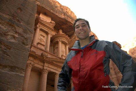 "in front of Al Khazneh (""The Treasury"") in Petra, Jordan"