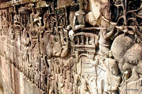 A scene from the eastern gallery shows a Khmer army on the march in the Cambodia ruins