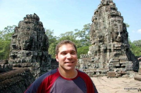 my face between the faces, in Angkor Wat Angkor Thom area in Cambodia