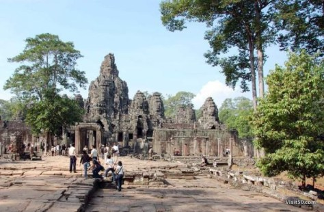 entrance to Bayon temples, in the Bayon complex - Bayon ruins in Angkor Wat Angkor Thom area in Cambodia