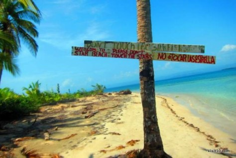 "Sign says: ""Star Beach - please don't touch the stars!"". Still it's a must visit when island hopping in Bocas del Toro Panama"