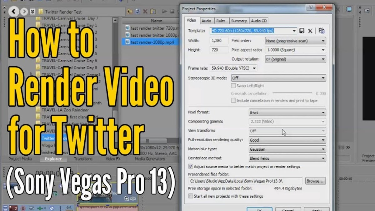 How to upload video to Twitter (Using Sony Vegas Pro 13)