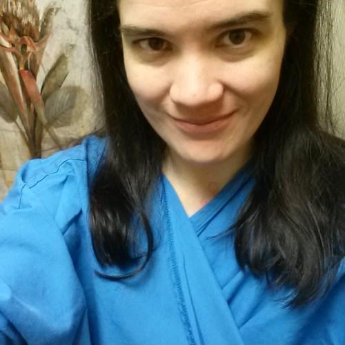 Half-Gown Selfie Before My Biopsy