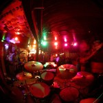 Wasabi as seen from behind the drumset.