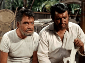 """WANNA BUY A SHIP IN A BOTTLE?""--Don Keefer (left) as Grover in ""Howard's New Life"" with fellow beach bum (Sam Greene)."