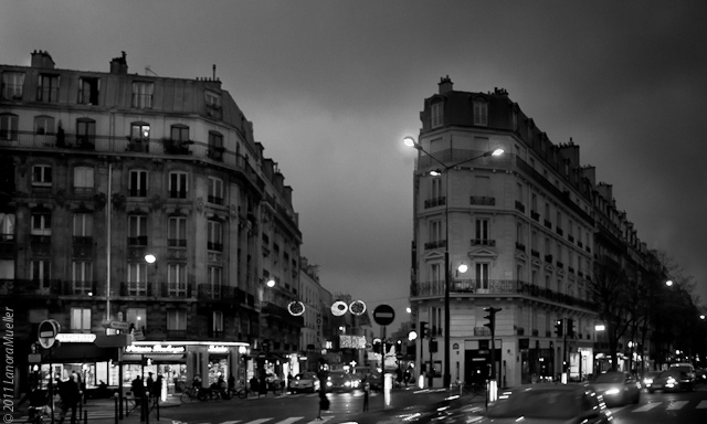Paris boulevard winter evening