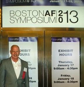 Steve at entrance to BAFS 2013 exhibits Jan 17, 2013.