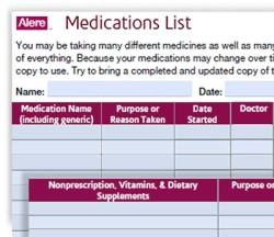 Medications List from Alere at A-Fib.com
