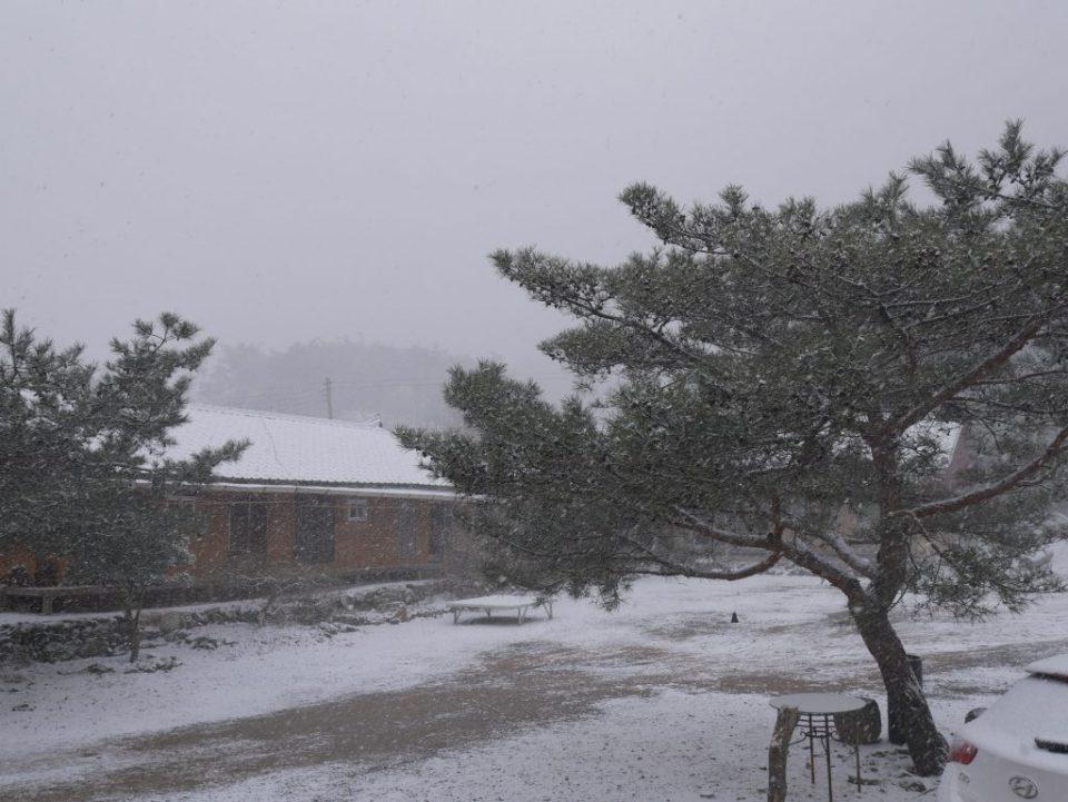 Le temple sous la neige