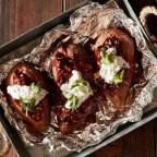 Grilled Sweet Potatoes with BBQ Baked Beans and Cilantro Cream
