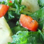 Colorful Kale and Spinach Salad and Homemade Dressing