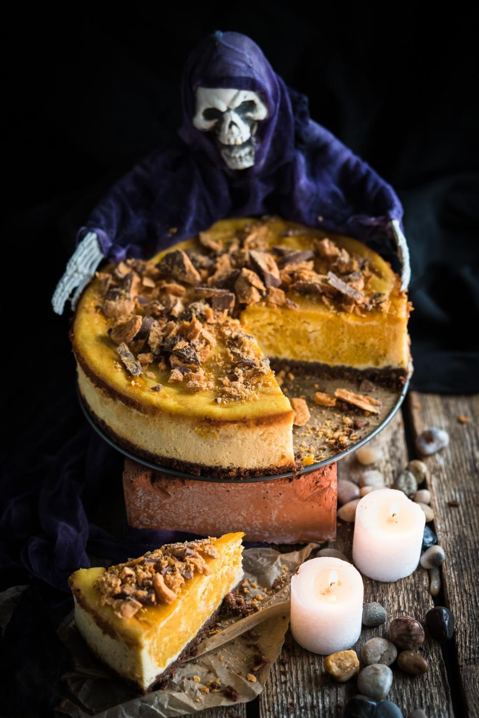 Kurpitsa-juustokakku Halloween-juhliin