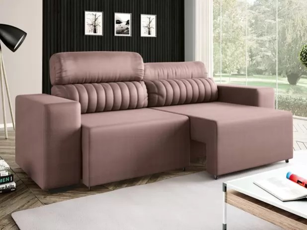 Sofá Retrátil E Reclinável 4 Lugares Revestimento Suede Elite Style Linoforte