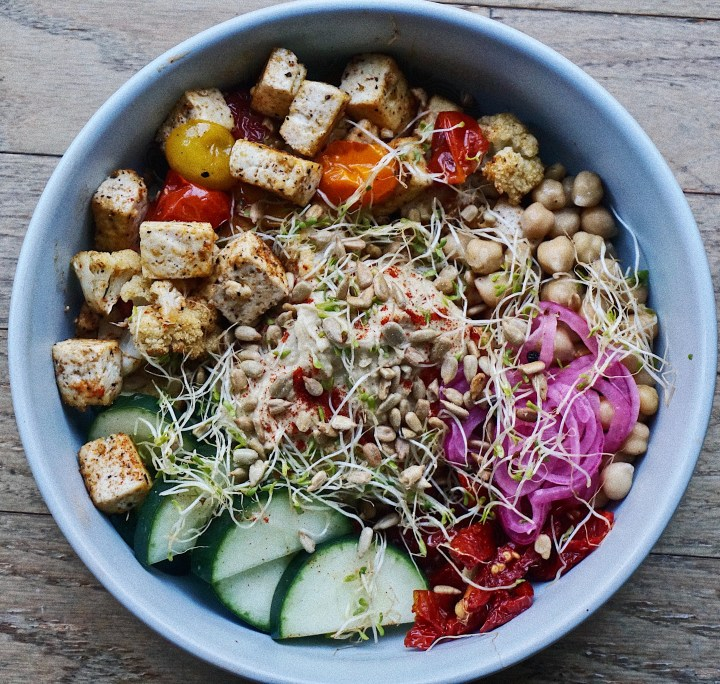 Hummus Bowl with Roasted, Raw, & Pickled Vegetables