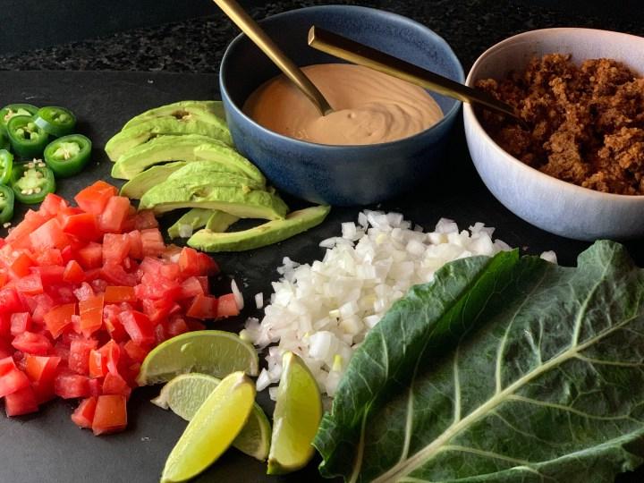 Raw Walnut Collard Tacos with Spicy Cashew Queso