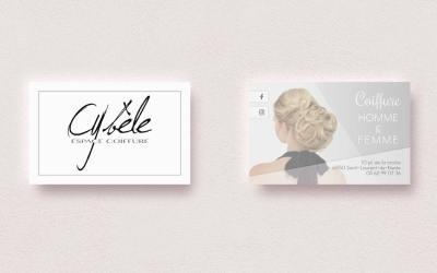Des cartes de visite pour un salon de coiffure, Cybèle Coiffure