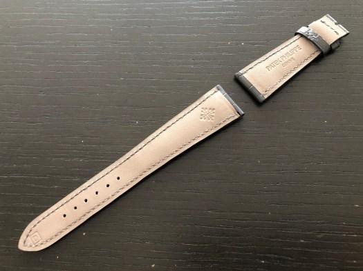 パテックフィリップ(PATEK PHILIPPE)レザー(革)ベルト 21×16mm ライトブラウン×アイボリーステッチ 未使用11-04