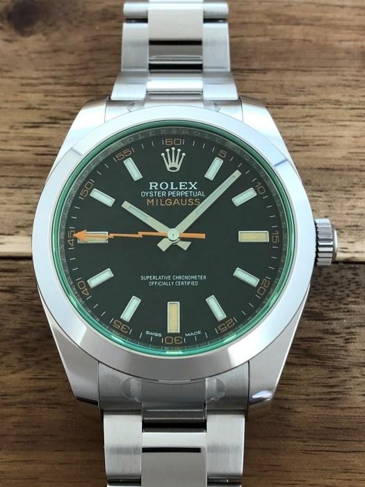 ロレックス(ROLEX)ミルガウス Ref.116400GV 黒文字盤 グリーンガラス SS 未使用の正面