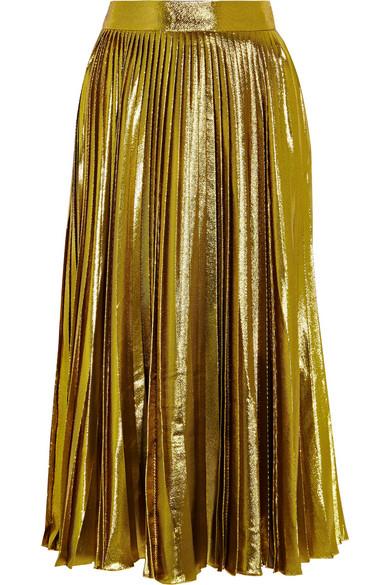 Gucci | Metallic Pleated Silk-Blend Midi Skirt | Net-A-Porter