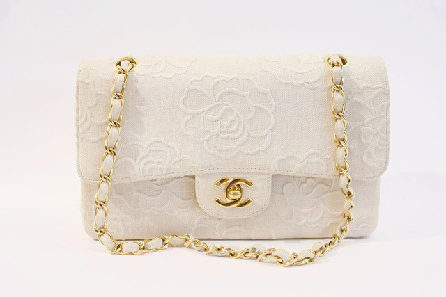 Chanel Vintage Camellia Flower Natural Linen Double Flap Bag | Rice and Beans Vintage