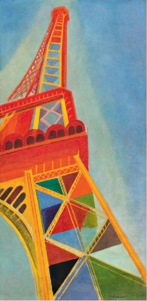 """Reproduction of a painting by Robert Delaunay, """"La Tour Eiffel"""", 1926, selected by Karl Lagerfeld to illustrate the show invitation"""
