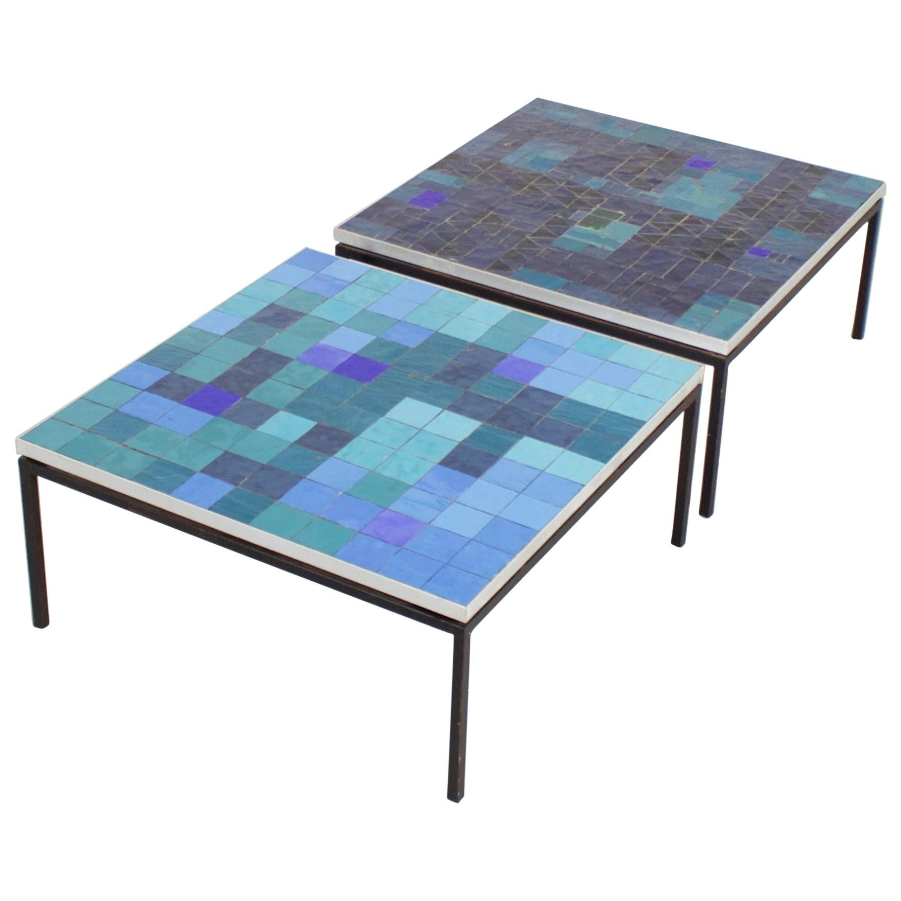 1 2 impressive mosaic tile coffee table by berthold muller 1960s