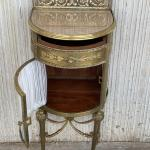 Louis Xvi Pair Of Bronze Vitrine Nightstand With Curved