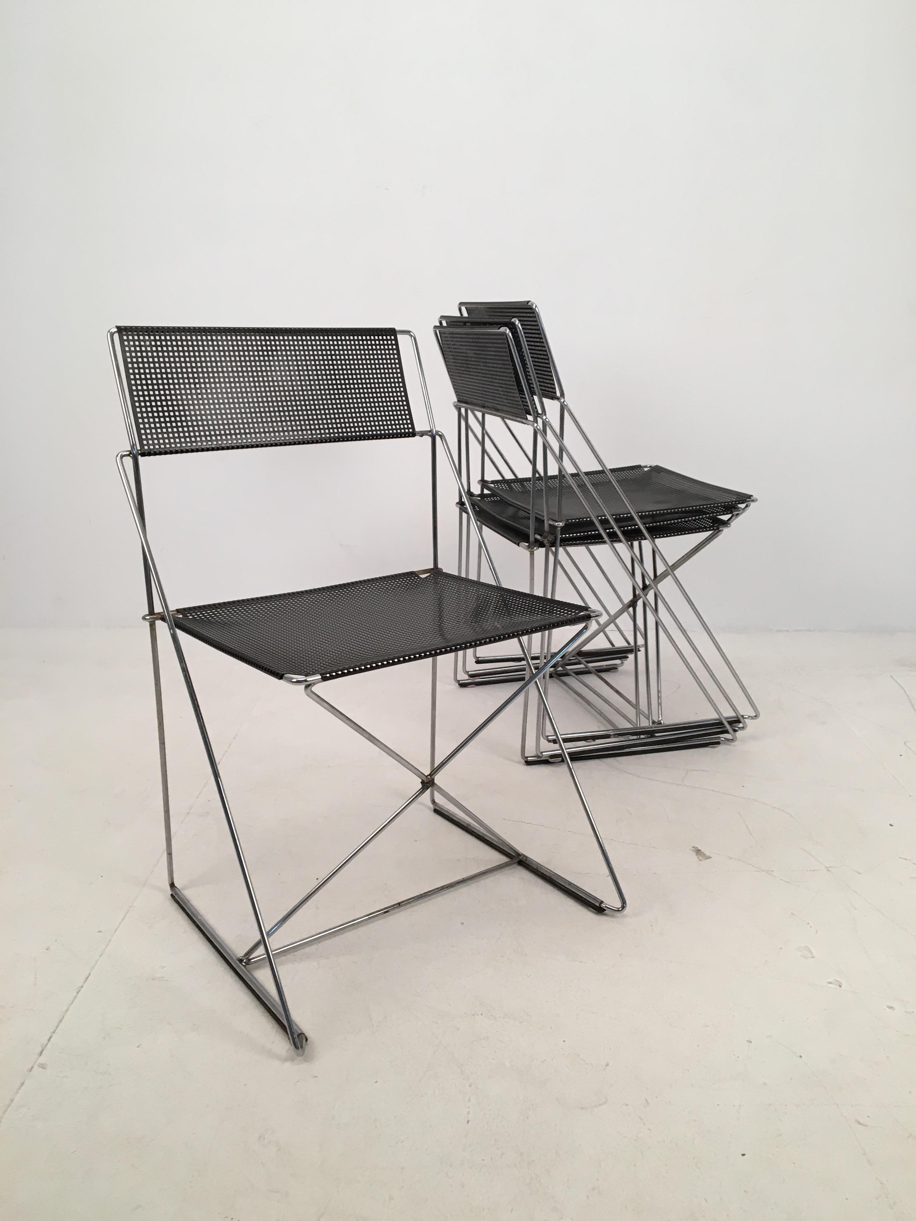 4 Black Stacking X Line Chairs By N J Haugesen For Hybodan Denmark Circa 1970