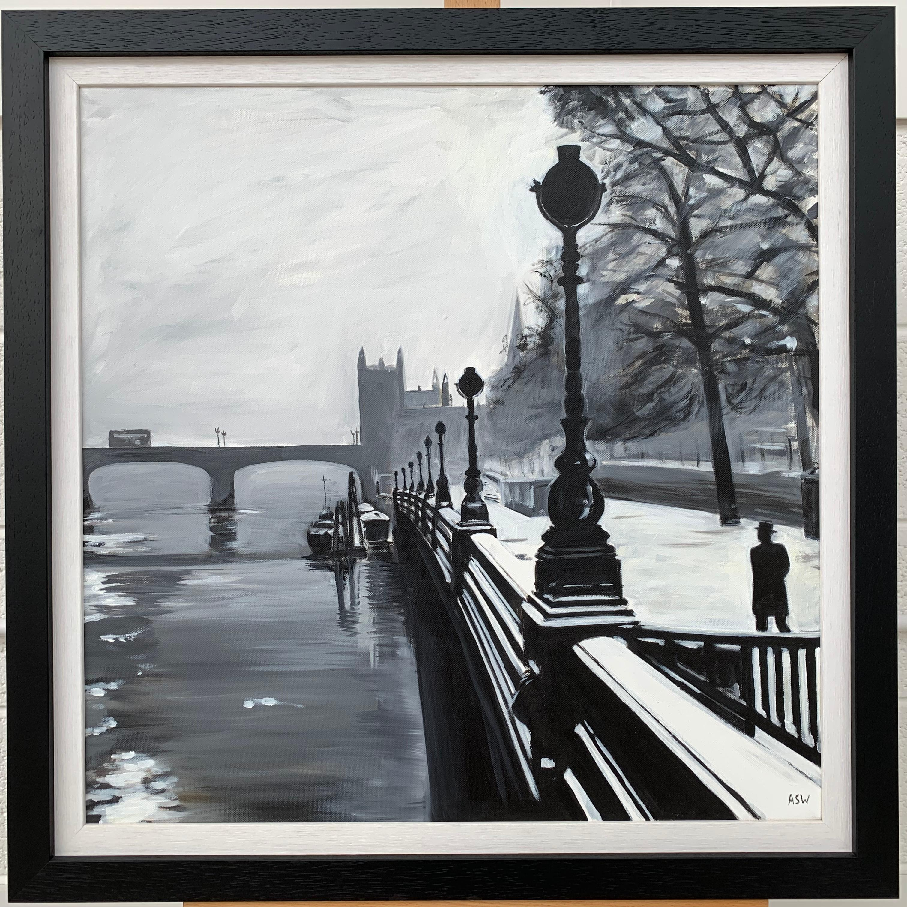 Angela Wakefield Black And White Painting Of Victoria Embankment London By British Urban Artist For Sale At 1stdibs