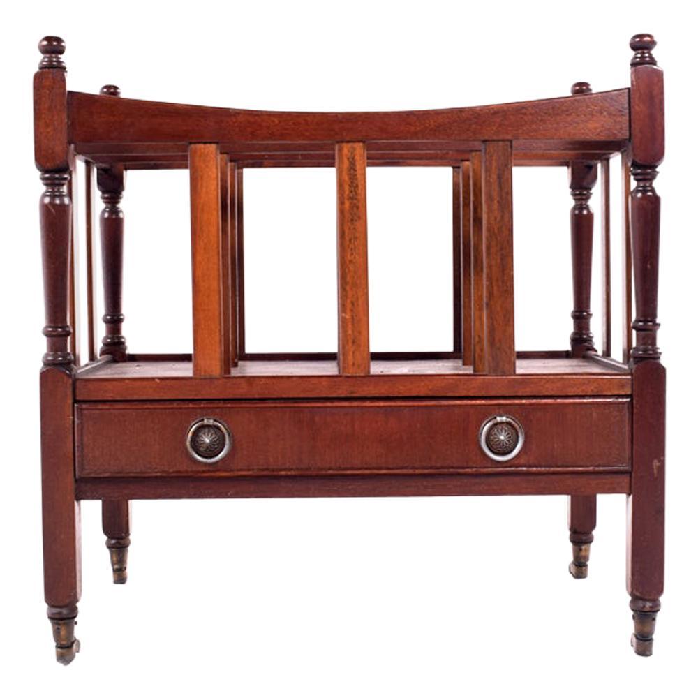 antique canterbury mahogany magazine rack
