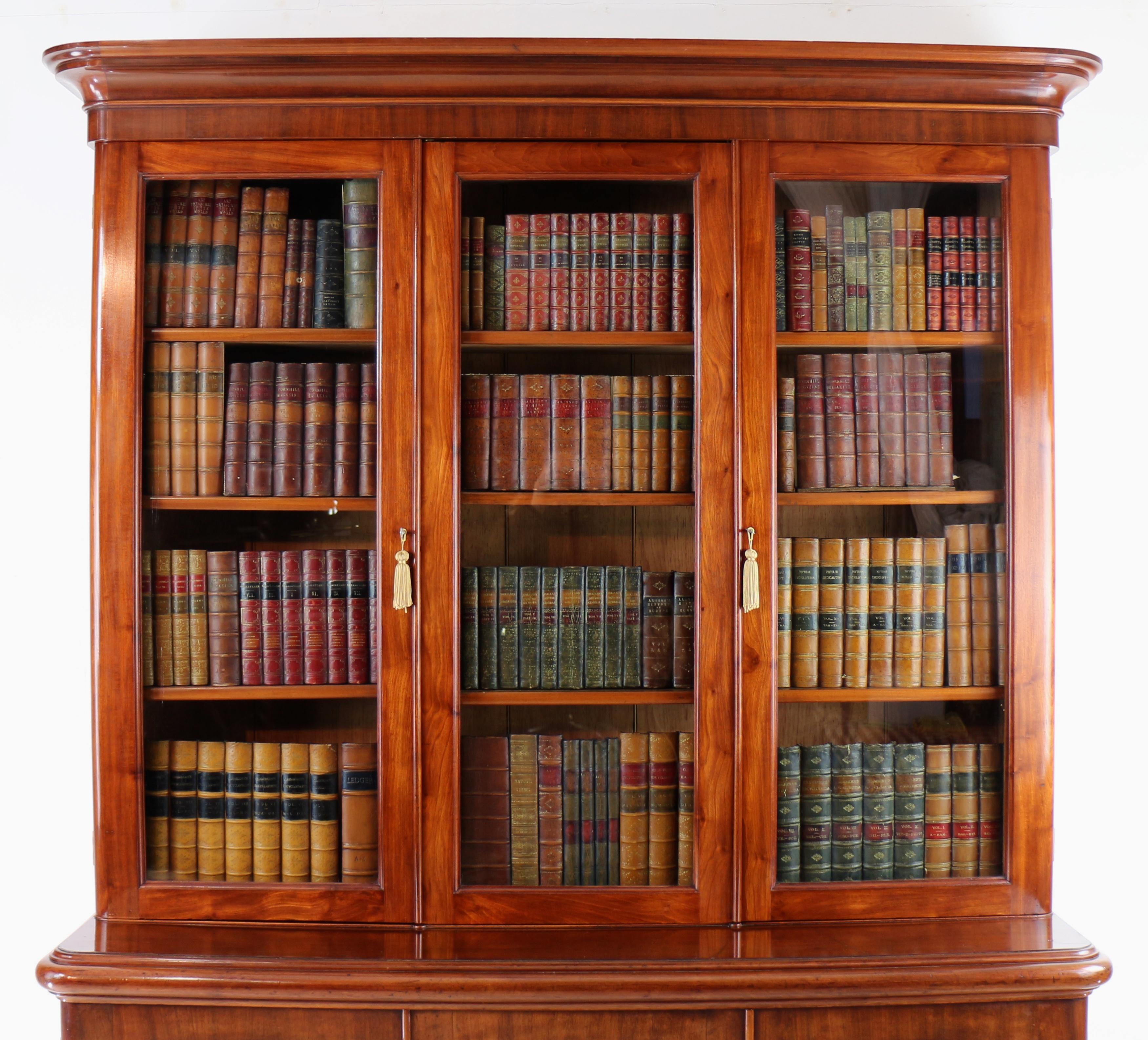 Antique English Victorian Mahogany Three Door Bookcase