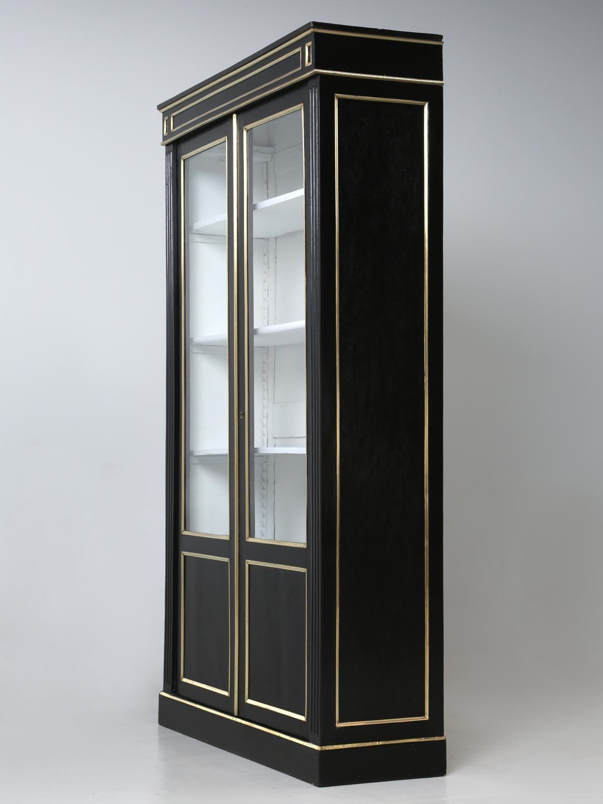 Antique French Louis Xvi Ebonized Mahogany Bookcase Fully Restored