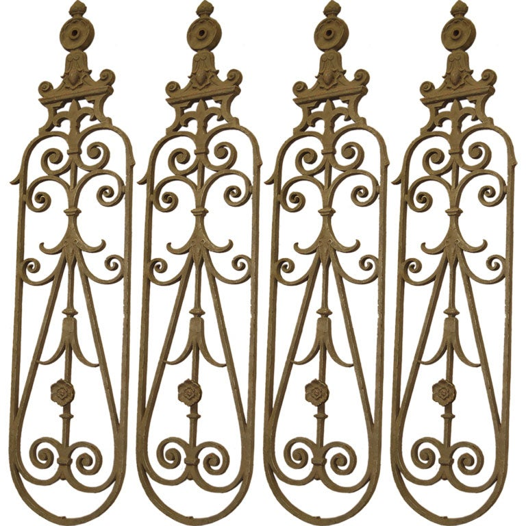 19th CFrench Iron Stair Railing 16 Parts At 1stdibs