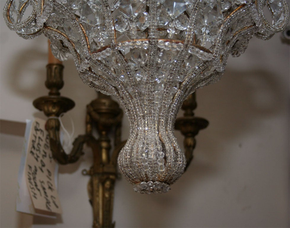 A French Crystal Beaded Ceiling Light At 1stdibs